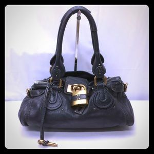 Auth Leather Black Chloe paddington preowned